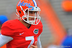 Florida QB Will Grier runs out onto the field for warm ups.  2014 Orange and Blue Debut.  April 12th, 2014. Gator Country photo by David Bowie.