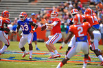 Florida QB Jeff Driskel throws downfield.  2014 Orange and Blue Debut.  April 12th, 2014. Gator Country photo by David Bowie.