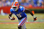Florida WR Ahmad Fulwood explodes off the line and sprints downfield.  2014 Orange and Blue Debut.  April 12th, 2014. Gator Country photo by David Bowie.