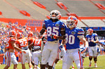 Florida WR Chris Thompson celebrates with Florida WR Michael McNeely after scoring his first touchdown.  2014 Orange and Blue Debut.  April 12th, 2014. Gator Country photo by David Bowie.
