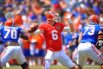 Florida QB Jeff Driskel throws downfield to his open receiver.  2014 Orange and Blue Debut.  April 12th, 2014. Gator Country photo by David Bowie.