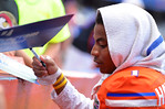 Florida DB Vernon Hargreaves, III signs autographs for the fans.  2014 Orange and Blue Debut.  April 12th, 2014. Gator Country photo by David Bowie.