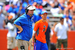 Gator Head Coach Will Muschamp coaches the game from the field lining up about 10 yards behind the offense.  2014 Orange and Blue Debut.  April 12th, 2014. Gator Country photo by David Bowie.