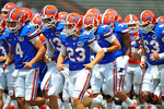 Florida K Danny Krysalka and the rest of the Gators head into the lockers prior to kick off.  2014 Orange and Blue Debut.  April 12th, 2014. Gator Country photo by David Bowie.