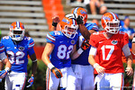 Florida TE Bair Diamond is congratulated after scoring a last second touchdown to bring the game to a tie 23-23 with only 9 seconds left.  2014 Orange and Blue Debut.  April 12th, 2014. Gator Country photo by David Bowie.