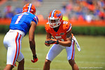 Florida DB Jalen Tabor prepares for the snap.  2014 Orange and Blue Debut.  April 12th, 2014. Gator Country photo by David Bowie.