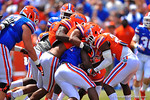 Florida RB Adam Lane Jr. is tackled by half of the Gator defense.  2014 Orange and Blue Debut.  April 12th, 2014. Gator Country photo by David Bowie.