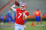 Florida QB Will Grier throwing during warm up drills.  2014 Orange and Blue Debut.  April 12th, 2014. Gator Country photo by David Bowie.