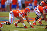 Florida DE Dallas Stubbs lines up for the snap.  2014 Orange and Blue Debut.  April 12th, 2014. Gator Country photo by David Bowie.