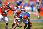Florida DB Duke Dawson breaks up the pass to WR Quinton Dunbar.  2014 Orange and Blue Debut.  April 12th, 2014. Gator Country photo by David Bowie.