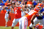 Florida QB Jeff Driskel looks and throws downfield on the opening drive of the game.  2014 Orange and Blue Debut.  April 12th, 2014. Gator Country photo by David Bowie.
