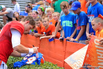 Florida QB Jeff Driskel sings autographs in the endzone for the kids.  2014 Orange and Blue Debut.  April 12th, 2014. Gator Country photo by David Bowie.