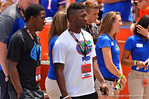 Recruits watch on from the sideline as the Gators warm up for the Orange and Blue game.  2014 Orange and Blue Debut.  April 12th, 2014. Gator Country photo by David Bowie.