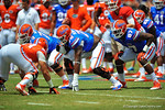 Gators OL Tyler Moore, OL D.J. Humphries and TE Tevin Westbrook at the line.  2014 Orange and Blue Debut.  April 12th, 2014. Gator Country photo by David Bowie.