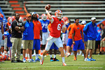 Florida QB Jeff Driskel throws down field during pre-game drills.  2014 Orange and Blue Debut.  April 12th, 2014. Gator Country photo by David Bowie.