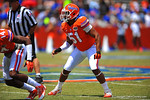 Florida LB Michael Taylor drops back into coverage.  2014 Orange and Blue Debut.  April 12th, 2014. Gator Country photo by David Bowie.