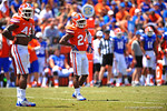 Florida DB Brian Poole looks to the sideline for the call.  2014 Orange and Blue Debut.  April 12th, 2014. Gator Country photo by David Bowie.