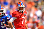 Florida QB Will Grier looks to the sideline and his coaches for the playcall.  2014 Orange and Blue Debut.  April 12th, 2014. Gator Country photo by David Bowie.