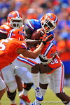 Florida WR Latroy Pittman is hit and tackled by Florida DB Marcell Harris.  2014 Orange and Blue Debut.  April 12th, 2014. Gator Country photo by David Bowie.