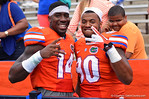 Florida DL Jonathan Bullard and DL Alex McCalister pose for the camera.  2014 Orange and Blue Debut.  April 12th, 2014. Gator Country photo by David Bowie.