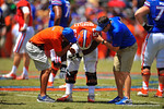 Florida DL Caleb Brantley grabs for his right arm as the Gator trainers help him.2014 Orange and Blue Debut.  April 12th, 2014. Gator Country photo by David Bowie.