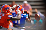 Florida DB Duke Dawson gets a hand on the head of Florida WR Demarcus Robinson to distrupt the long pass attempt.  2014 Orange and Blue Debut.  April 12th, 2014. Gator Country photo by David Bowie.