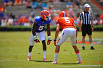 Florida WR Ahmad Fulwood looks for the snap.  2014 Orange and Blue Debut.  April 12th, 2014. Gator Country photo by David Bowie.