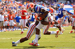 Florida WR Chris Thompson is tackled into the endzone by Florida LB Daniel McMillian.  2014 Orange and Blue Debut.  April 12th, 2014. Gator Country photo by David Bowie.