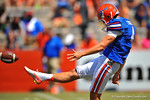 Florida P Kyle Christy punts the ball away.  2014 Orange and Blue Debut.  April 12th, 2014. Gator Country photo by David Bowie.