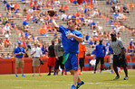 Gator greats and past alumni compete before the Orange and Blue game in a flag football game.  2014 Orange and Blue Debut.  April 12th, 2014. Gator Country photo by David Bowie.