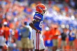 Florida WR Chris Thompson waits for play to resume during a televison timeout.  2014 Orange and Blue Debut.  April 12th, 2014. Gator Country photo by David Bowie.