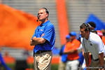 Gator defensive coordinator D.J. Durkin looks up to the jumbotron.  2014 Orange and Blue Debut.  April 12th, 2014. Gator Country photo by David Bowie.