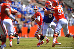 Florida QB Will Grier looks downfield as he drops back for an open receiver.  2014 Orange and Blue Debut.  April 12th, 2014. Gator Country photo by David Bowie.