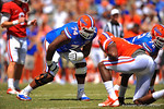 Florida OL Trenton Brown lines up for the snap.  2014 Orange and Blue Debut.  April 12th, 2014. Gator Country photo by David Bowie.