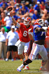 Florida QB Jeff Driskel rifles a ball downfield.  2014 Orange and Blue Debut.  April 12th, 2014. Gator Country photo by David Bowie.