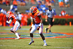 Florida DB Jabari Gorman drpps back into coverage.  2014 Orange and Blue Debut.  April 12th, 2014. Gator Country photo by David Bowie.