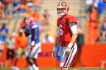 Florida QB Jeff Driskel looks to the sideline for the play call.  2014 Orange and Blue Debut.  April 12th, 2014. Gator Country photo by David Bowie.