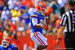 Florida RB Kelvin Taylor celebrates in the endzone following his touchdown run.  2014 Orange and Blue Debut.  April 12th, 2014. Gator Country photo by David Bowie.