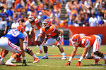Florida LB Daniel McMillian lines up for the snap.  2014 Orange and Blue Debut.  April 12th, 2014. Gator Country photo by David Bowie.