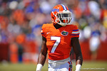 Florida DB Duke Dawson looks to the sideline.  2014 Orange and Blue Debut.  April 12th, 2014. Gator Country photo by David Bowie.