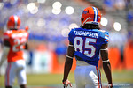 Florida WR Chris Thompson walks up to the slot receiver position.  2014 Orange and Blue Debut.  April 12th, 2014. Gator Country photo by David Bowie.
