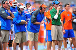 Gator offensive coordinator Kurt Roper yells out his instructions to his players.  2014 Orange and Blue Debut.  April 12th, 2014. Gator Country photo by David Bowie.