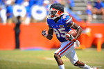 Florida WR Chris Thompson receives the kickoff and sprints upfield on the return.  2014 Orange and Blue Debut.  April 12th, 2014. Gator Country photo by David Bowie.