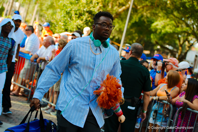 The Florida Gators walk into the stadium and into the locker room during the Gator Walk before the start of the game versus the Kentucky Wildcats.