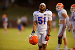 Florida LB Michael Taylor takes a breather during a practice drill.  August 8th, 2014. Gator Country photo by David Bowie.