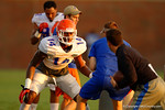 Florida Gator DL Alex McCalister works out during a practice drill.  August 8th, 2014. Gator Country photo by David Bowie.