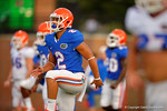 Florida Gator freshman WR Ryan Sousa does leg lifts while warming up for practice.  August 8th, 2014. Gator Country photo by David Bowie.