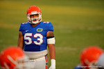 Florida OL Kavaris Harkless looks on during a practice drill.  August 8th, 2014. Gator Country photo by David Bowie.