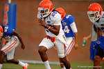 Florida DB Marcell Harris sprints downfield during a practice drill.  August 8th, 2014. Gator Country photo by David Bowie.