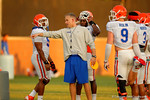 Florida Gator defensive coordinator D.J. Durkin coaches up the Gator linebackers during practice.  August 8th, 2014. Gator Country photo by David Bowie.